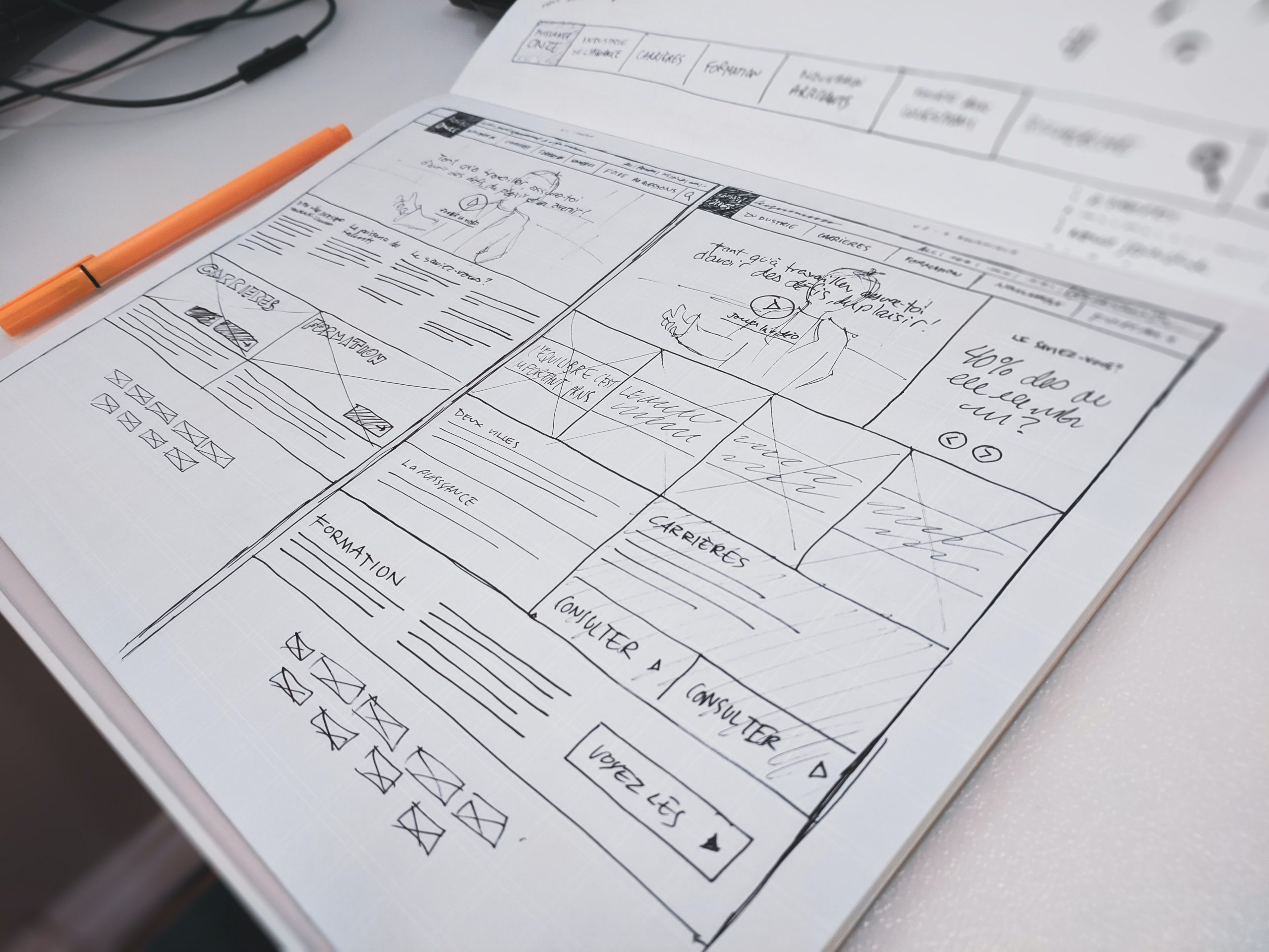 Product designer drawing wireframe